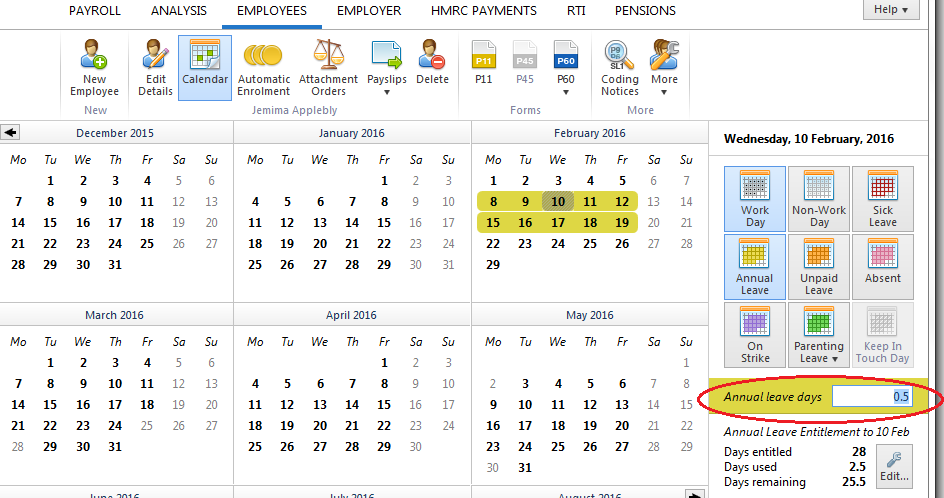 recording annual leave on the calendar brightpay