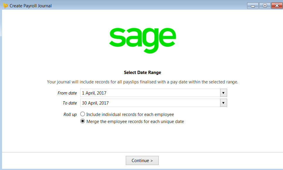 Sage brightpay documentation b roll up select whether you would like the journal to include individual records for each employee or whether to merge the records for each unique date pronofoot35fo Choice Image
