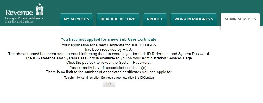 Setting up a ROS sub cert for your additional PAYE registration