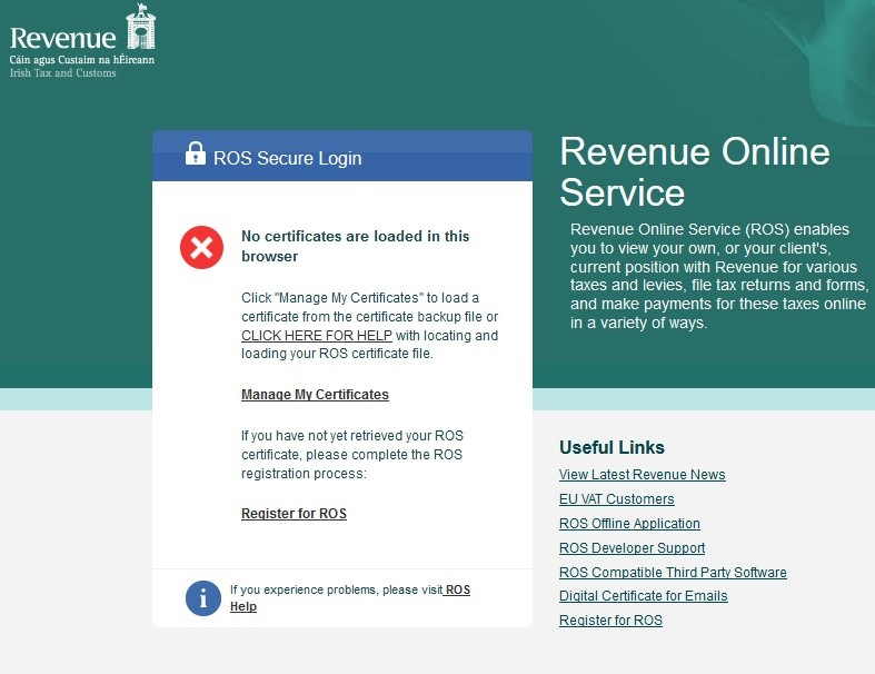 Saving and reloading a ROS digital certificate