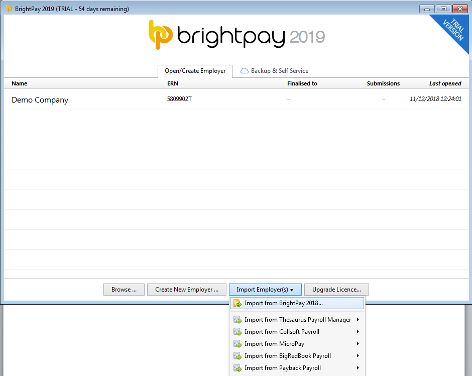 Importing from BrightPay 2018 - BrightPay Documentation