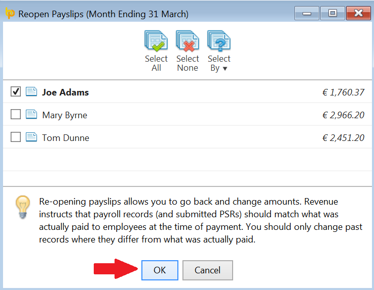 Re-opening the last pay period for one or more employees