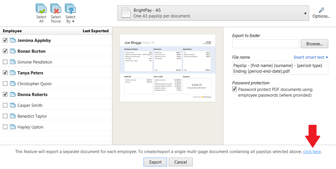 Exporting Payslips - BrightPay Documentation