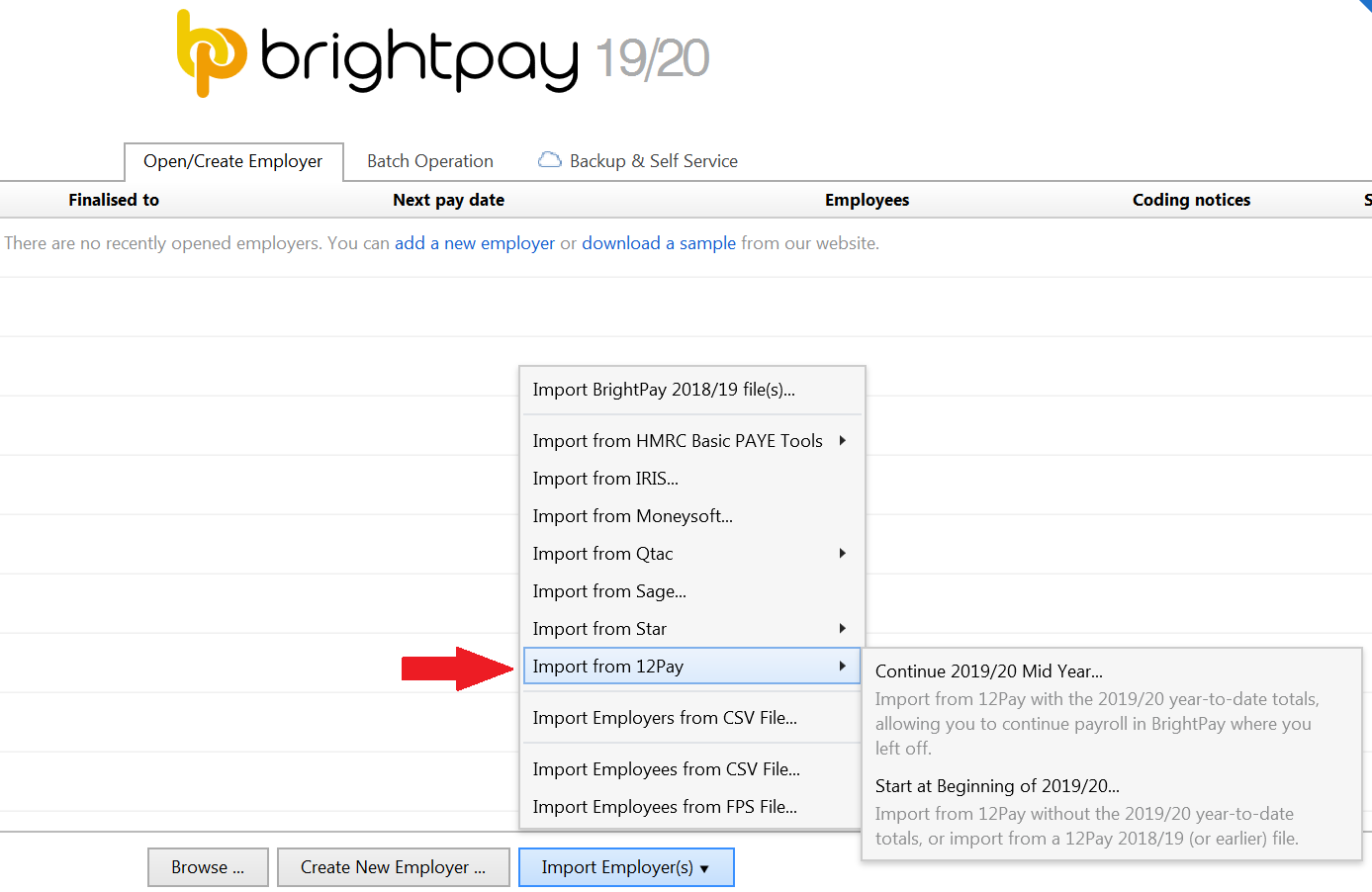 Importing from 12Pay - BrightPay Documentation