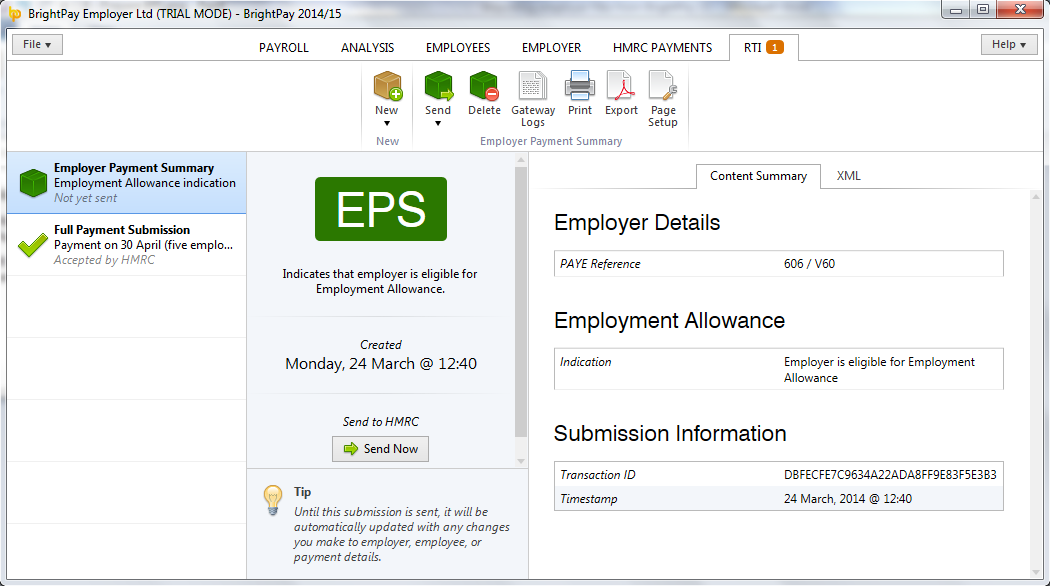 EPS - Employment Allowance flagged