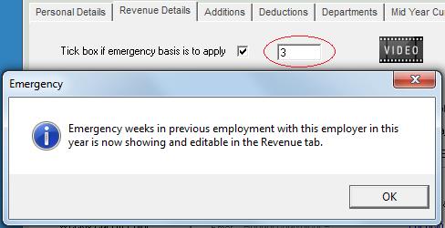 Edit weeks at emergency basis